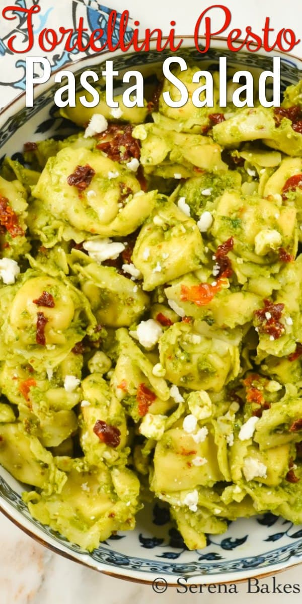 Tortellini Pesto Salad with Feta and Sundried Tomatoes is an easy Pasta Salad recipe to make. A favorite Pasta Salad done in under 20 min. from Serena Bakes Simply From Scratch.