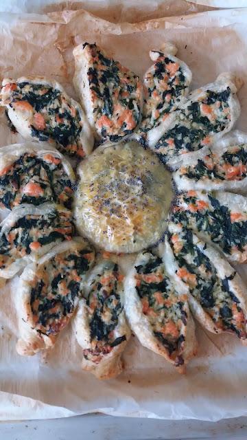 Tarte soleil au saumon frais,épinards et fromage ;Tarte soleil au saumon frais,épinards et fromage