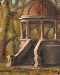 Oil painting of a copper-domed rotunda with concrete staircase.