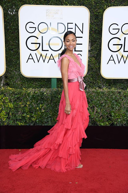 Zoe Saldana in pink dress by Gucci