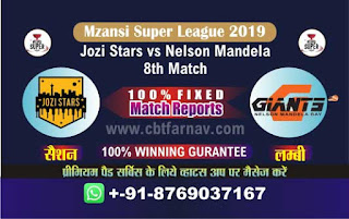 Mzansi Super League Nelson vs Jozi 8th MSL 2019 Match Prediction Today Reports