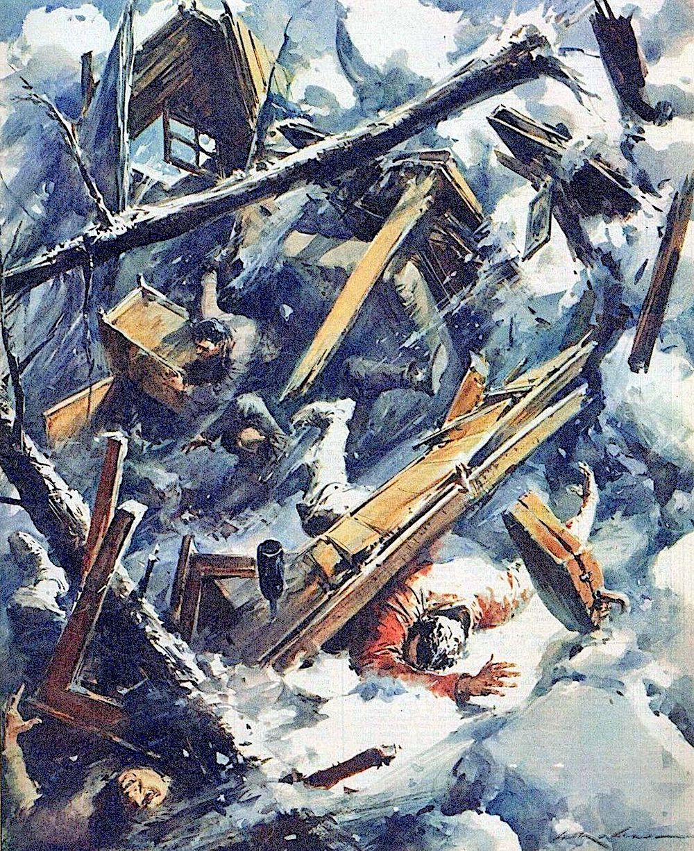 a Walter Molino illustration of an avalanch destroying a cabin with men