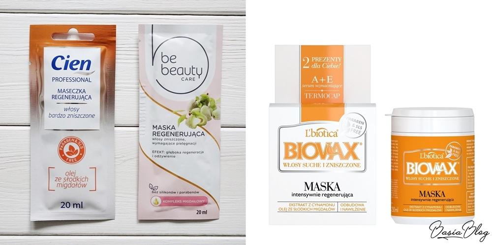 pomarańczowa maska do włosów Cien, różowa maska Be Beauty, pomarańczowa maska Biovax