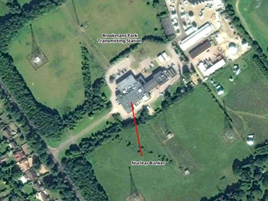Satellite view of the Brookmans Park Transmitting Station Created on Map Hub by Hertfordshire Walker Elements © Thunderforest © OpenStreetMap contributors