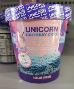 A pint of Dollar Tree's Unbranded Sprinkle Unicorn Birthday Cake Ice Cream