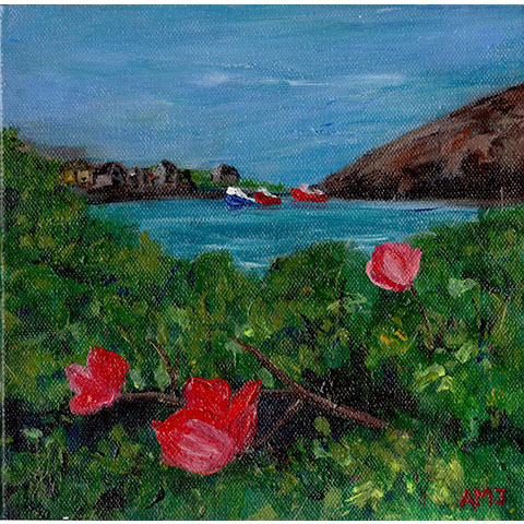 Wild roses in Peggy's Cove- Original painting