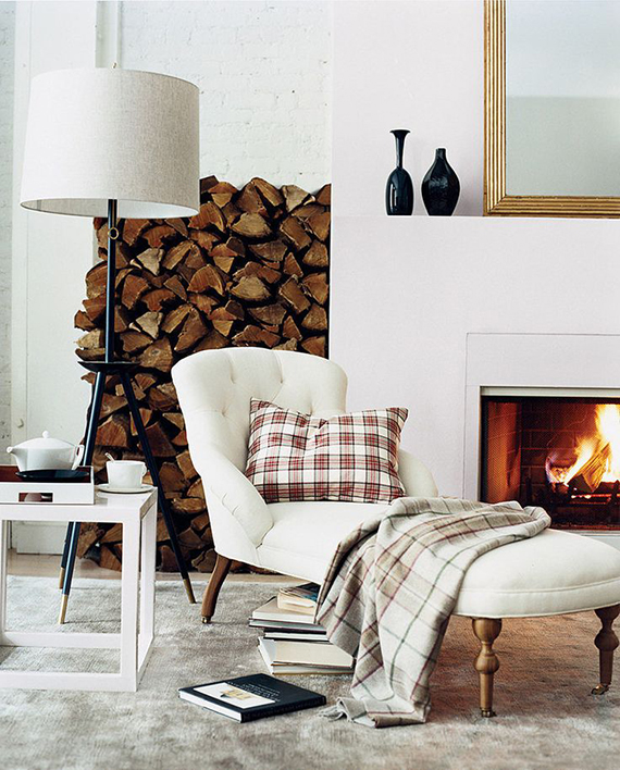 Tartan gorgeousness and cozy chaise by the fireplace | Image by Simon Watson via Domino