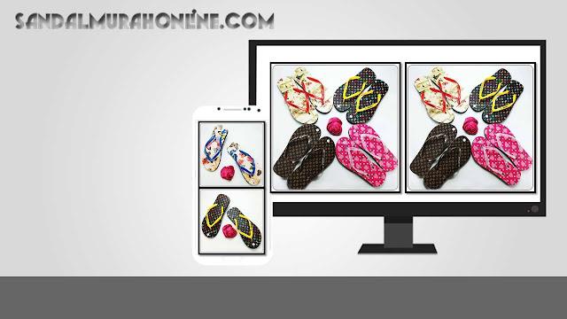 Pusat Sandal Wanita- AMX Sandal Motif Bunga Spon Wanita