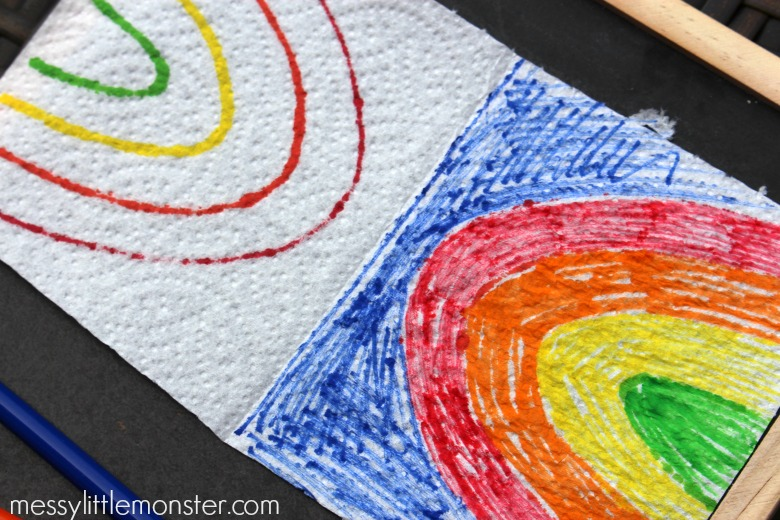 Magic drawing - rainbow paper towel art