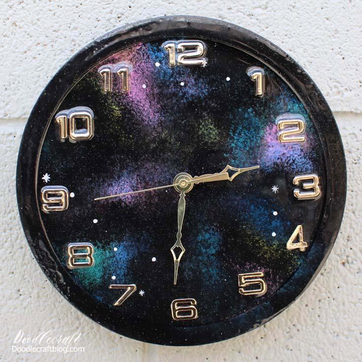 Galaxy Painted Resin Clock Tutorial Diy
