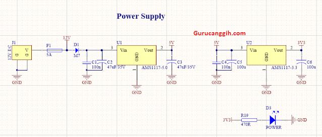 PSU - Power supply dengan regulator 5V dan 3,3V