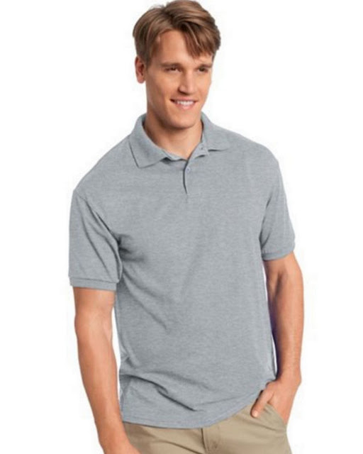 Hanes 054X Mens Comfortblend Jersey Polo -Light Steel – L
