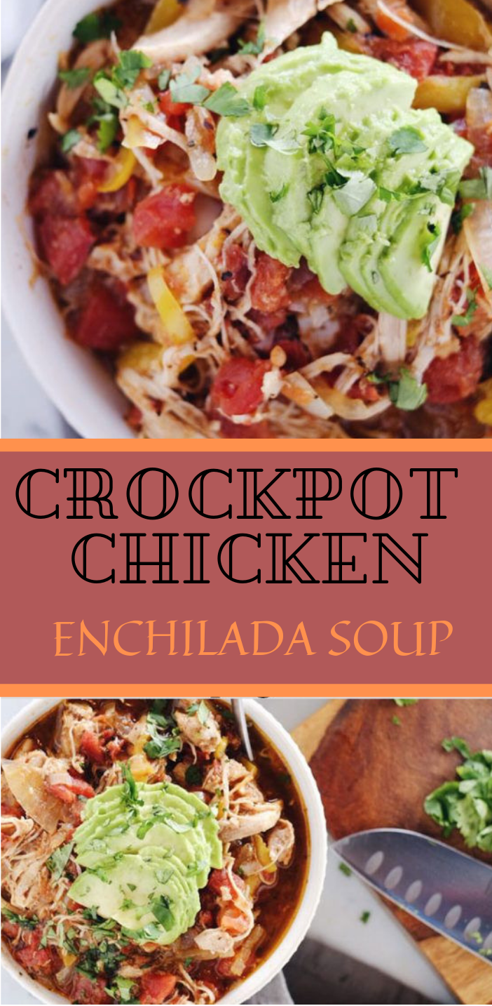 CROCKPOT CHICKEN ENCHILADA SOUP #soup #diet