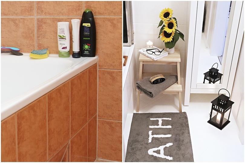 malowanie płytek w łazience efekt przed i po