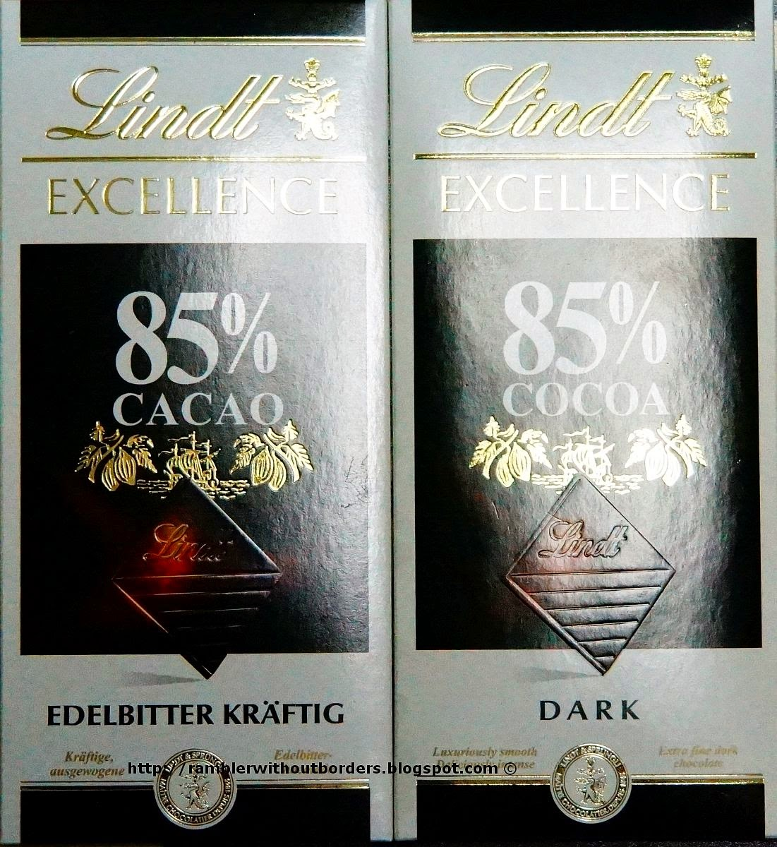 Lindt Chocolate in both English and German packaging