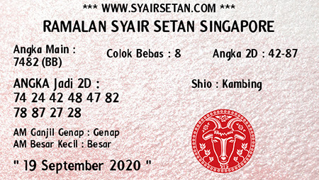 Syair Setan SGP Sabtu 19 September 2020