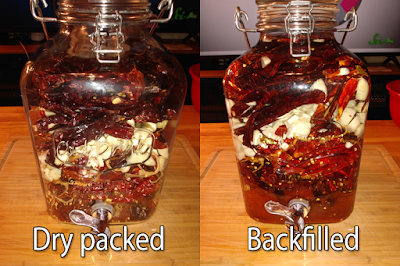 Before & after on filling the dispenser
