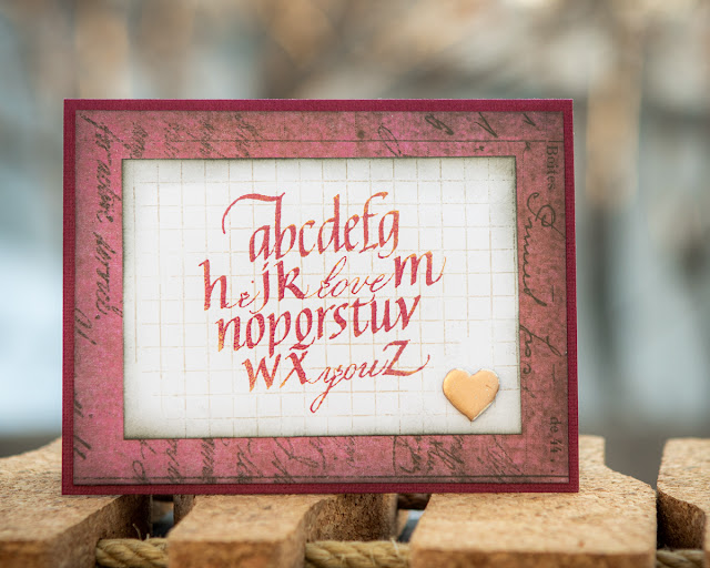 Quietfire Design Gentle Thoughts and Grid Background stamps / Dragon Berry Modern Gilding Powder / Valentine's Card