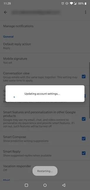 كيفية تعطيل محادثة Gmail عرض إعدادات تحديث تطبيقات الجوال