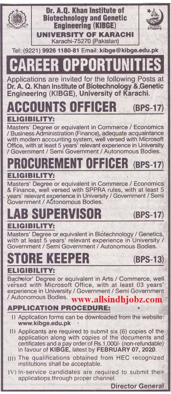 University of Karachi Jobs for Lab Supervisor 2020