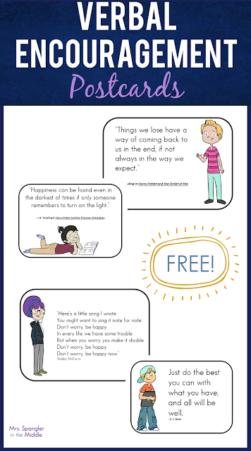 Free Verbal Encouragement Postcards to give your Middle School students some inspiration during distance learning!