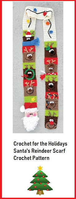 Santa's Reindeer Crochet Scarf Pattern to Download