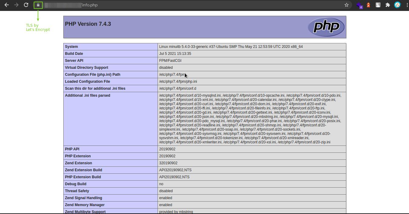 Hasil pengujian konfgurasi PHP dan Nginx