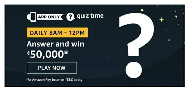 Amazon Quiz answer and stand a chance to win rs 50000