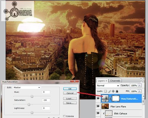 tambahkan layer adjustment hue/saturation - trik cara membuat efek sunset di photoshop