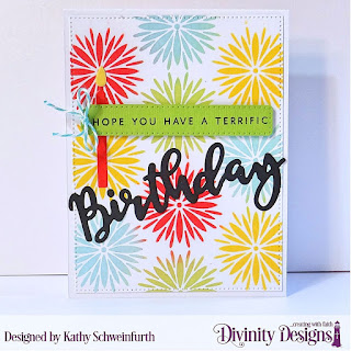 Divinity Designs Stamp/Die Duos: Birthday, Mixed Media Stencil: Flower Burst,Custom Dies: Birthday Candles, Treat Tags