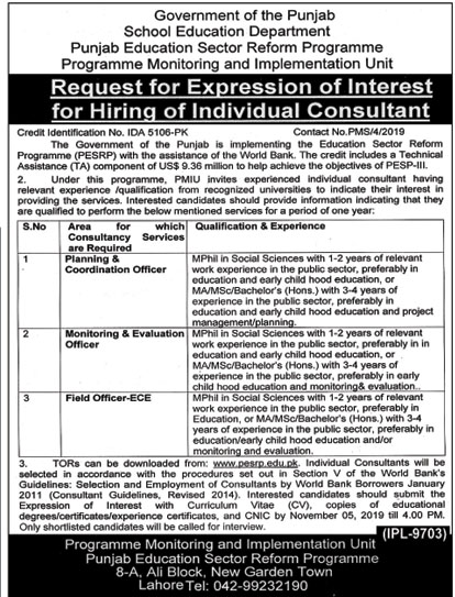 Jobs in School Education Department Govt of Punjab