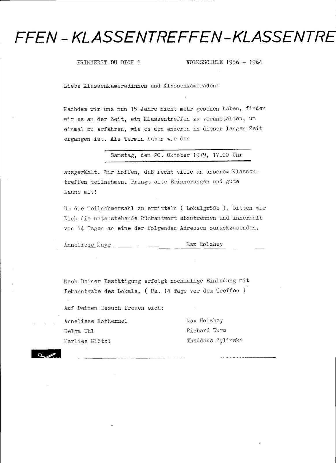 klassentreffen jahrgang 1949/50: neues wissenswertes, Einladung