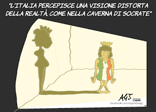 Paolo Savona, mito della caverna, platone, socrate, realtà, vignetta, satira