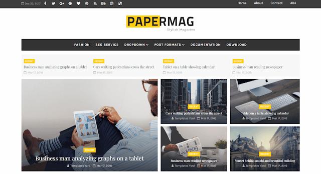 Download Free Premium Papermag Stylish Magazine Blogger Template
