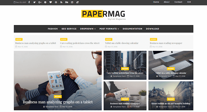 Download Free Premium Papermag Stylish Magazine Blogger Template