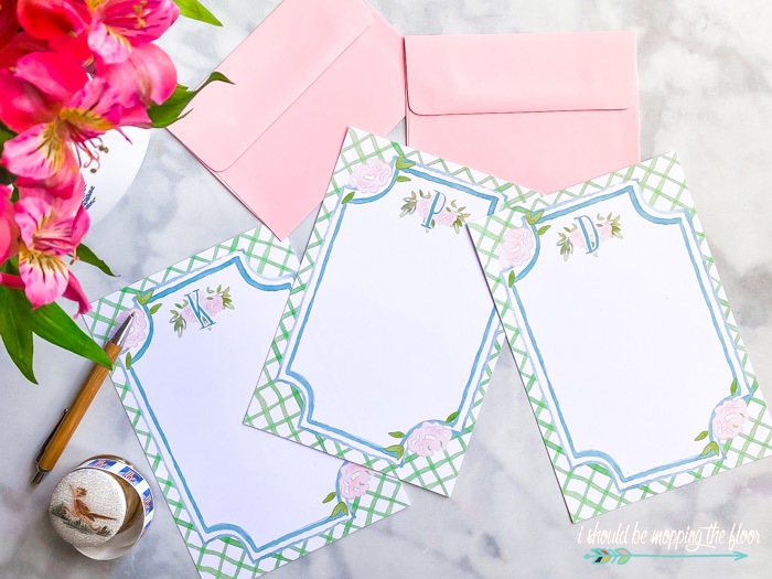 Free Printable Monogram Floral Stationery