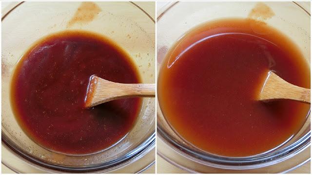 小さめのボウルに【合わせ調味料】を混ぜ合わせ、スパゲティのゆで汁を加えて溶いておきます。