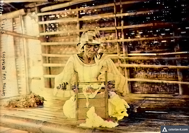 A picture of a woman in Batangas using a cotton gin, taken c. 1915-20.  Image source:  United States Library of Congress.