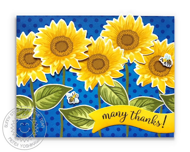 Sunny Studio Stamps: Sunflower Fields Layered Flower Many Thanks Polka-dot Card (using Background Basics Stamps & Little Angels Banner die)