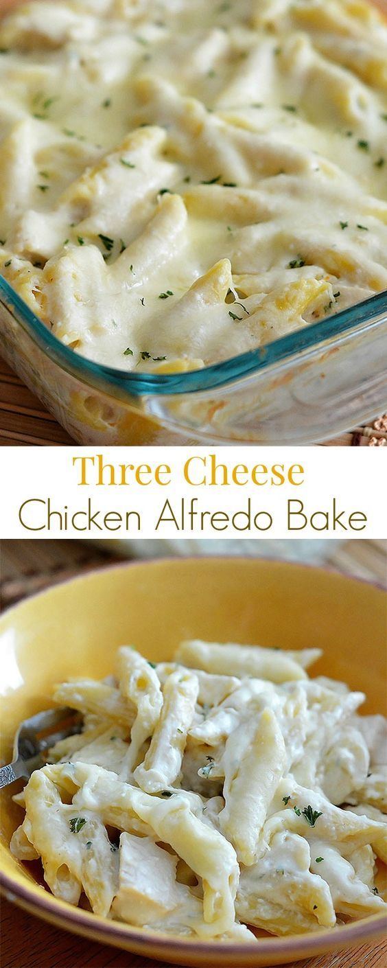 Three Cheese Chicken Alfredo Bake