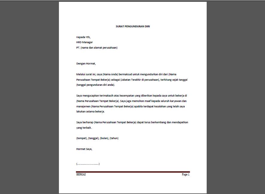 Contoh Surat Pengunduran Diri Karyawan Perusahaan Atau Pabrik Ydhartono Com