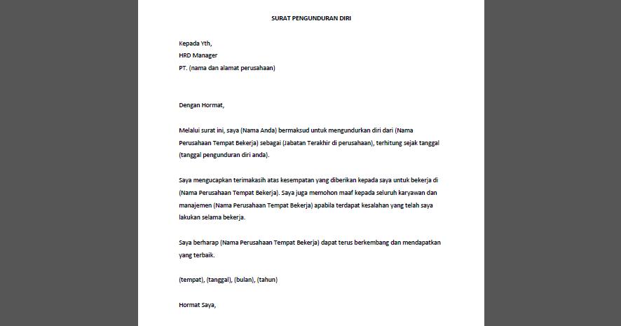 Contoh Surat Pengunduran Diri Karyawan Perusahaan atau ...