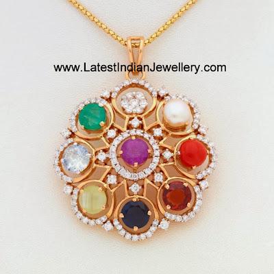Designer Diamond Navaratna Pendants