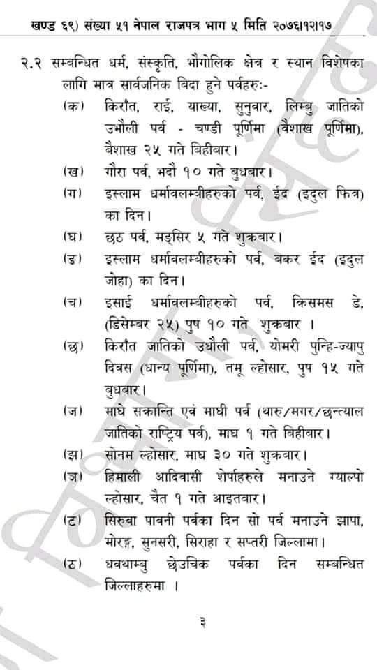 Nepal's Public Holidays of 2077 B.S. Published In Nepal Rajpatra