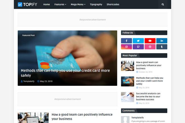 Template Topify - Modelo de blogger responsivo