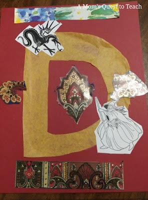 Letter D illuminated manuscript craft