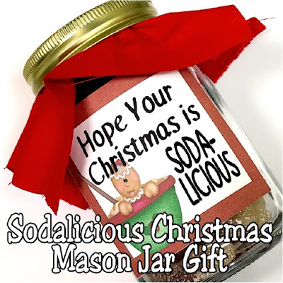 Hope your Christmas is Soda-licious! This fun mason jar gift is the perfect candy Christmas gift for everyone on your Christmas list this year.  Simply print out the gift tag and add to a mason jar filled with yummy soda flavored or soda shaped candy for the perfect sweet treat this Christmas.