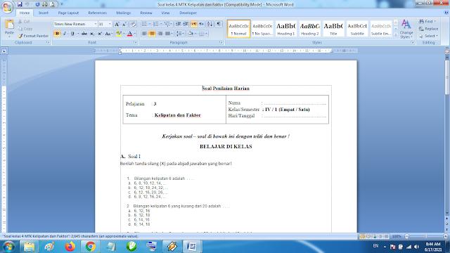 Soal Penilaian Harian Matematika Kelas 4 Kelipatan dan Faktor Kurikulum 2013 Revisi Terbaru