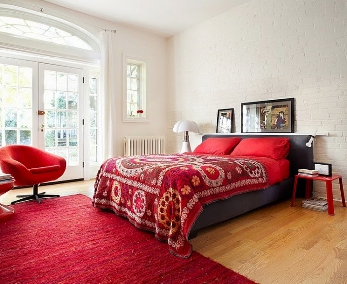 Habitaciones en rojo y gris dormitorios colores y estilos for Dormitorio gris y blanco