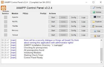 Menjalankan Xampp Control Panel
